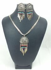 Vintage Navajo Sterling Silver Multistone Necklace Earring Set