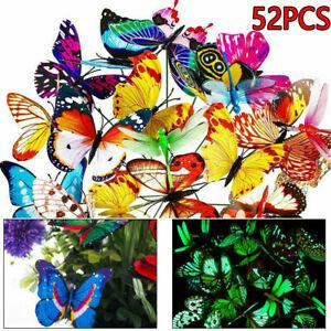 52x Luminous Butterflies Stakes  Ornaments Garden Patio On Sticks Home Decor UK