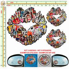 sticker bomb lips mirror tuning helmet Adesivi labbra serbatoio specchietti 3 pz
