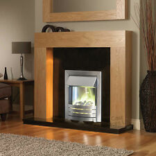 ELECTRIC SOLID OAK WOOD SURROUND BLACK STONE WALL FIRE LARGE FIREPLACE SUITE 54""