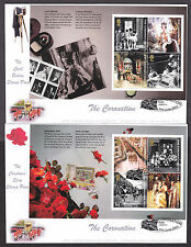 2003 CORONATION BOOKLET PANES ON 2 OFFICIAL DEREK WILLIAMS GB76A/B FDC'S