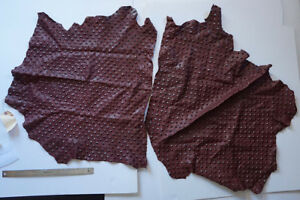 Leather Remnants Studded Lamb Maroon Pattern 3oz New Scrap Small Hide