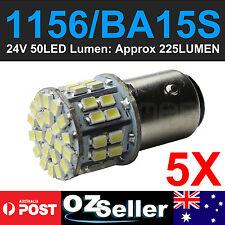 5x White Car 1156 1141 Tail Turn Signal Backup 50 LED Light Bulbs BA15S P21W 24V