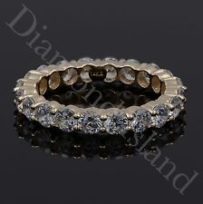 3.2CT Round Brilliant Cut Eternity Wedding Band Ring 14K Yellow Gold Size 7