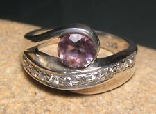 925 sterling silver cut amethyst/CZ ring UK O½-¾/US 7.5-7.75. Gift bag.