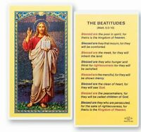 The Beatitudes Blessed are...  Laminated catholic / christian prayer card