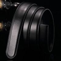 Schwarz Luxus Männer PU-Ledergürtel Bund Falle ohne automatische Knopf Neu.