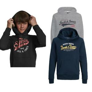 Boys Pullover Drawstring Hoodie Jack & Jones Junior Sweatshirt Kids Warm Jumper
