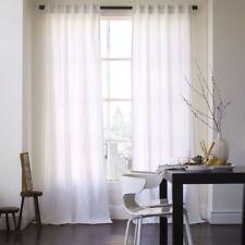 "West Elm Cotton Canvas Window Panel Curtains 48"" x 96"" White New"