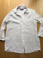 Tommy Hilfiger Shirt White Office 3/4 Sleeve Size 2 XS S 6/8 Cotton Casual Beach