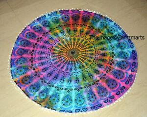 Indian Tie Dye Peacock Style Round Mandala Yoga Mat Boho Beach Throw Tapestry