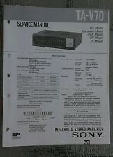 Sony ta v70 Service Manual schematic stereo amplifier amp Original repair book