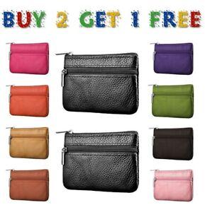 Men women kids card coin key holder zip leather wallet pouch bag purse UK colrCn