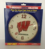 Wisconsin Badgers Wall Clock plays school fight song or Cheer