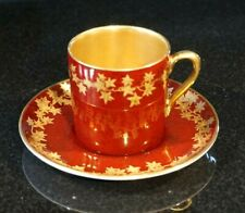 Beautiful Crown Devon Fieldings Ruby Red And Gold Demitasse And Saucer