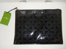 KATE SPADE Metro Spade Women's Black Patent Leather LG Pouch Clutch Cosmetic Bag