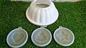 VINTAGE TUPPERWARE JELLY MOLD, SET N SERVE, WITH 3 TOP DESIGNS