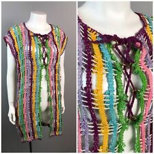 Vintage 60s Rainbow Stripe Sheer Embroidered Lace Up Tunic Blouse Odd Long Top L
