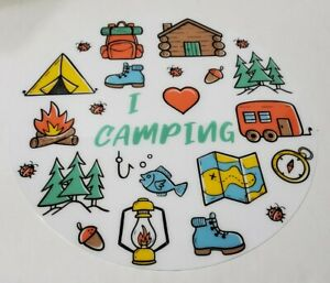 """16"""" Round Vinyl Placemat Camping Hiking Outdoor Summer Fun Colorful Washable New"""