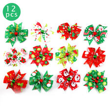 12PCS Christmas Bow Hair Clip Alligator Clips Girls Ribbon Kids Accessories UK