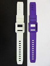 Purple & White Silicone Watch Band Wrist Strap Skin Cover Apple iPod Nano 6