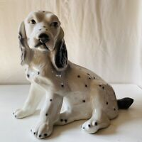 Vintage Spaniel Porcelain Large Dog Ornament White Black Spot SH6