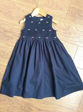 Girls Smocked Bodice 2 Years Navy Cotton Dress Excellent Condition Embroidery