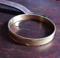 VTG Monet Brushed and Etched Gold Tone Bangle Bracelet