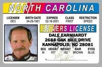 Dale Earnhardt Sr. Senior Kannapolis NC Novelty Drivers License ID Card
