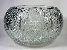 Huge Cut Crystal Punch Bowl Buttons and Daisies and Stars Design