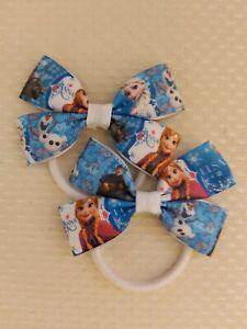 Elsa Frozen Anna olaf Disney princess Hair Bows bobbles x2 Hair ribbon