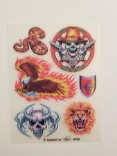 Wholesale Lot 12 Sheets Skull Eagle Snake Shield Lion Flames Tattoos Rub Ons
