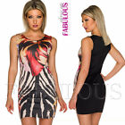 New European Printed Sleeveless Party Clubbing Going Out Dress Size 8 10 12 14