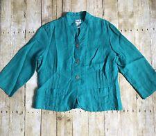 Chicos 100% Delave Linen Sibley Jade Color Button Down Jacket Size 2