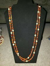 Vintage Clear Brown Gold Faux Pearl Autumn Fall Acrylic bead necklace