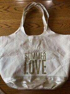 Victoria's Secret Summer Love Canvas Gold Beach Tote Shopper Bag VS