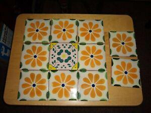 11  Decorative   Flower Tile    4  x  4   Ceramic  Mexico