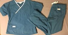 Scrub Set Scrubs Shirt Pants Turquoise Medical Women Extra Small XS