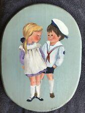 Folk Art Painting Of Two Children On Wood. Signed Betty Hanaway