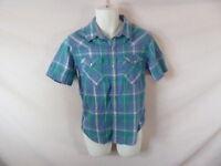 Men's LEVI'S Green Plaid Short Sleeve Pearl Snap Dress Shirt - Sz S