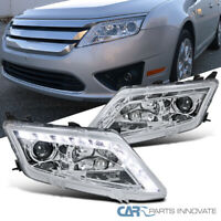 For Ford 10-12 Fusion Clear LED Driving Projector Headlights Head Lamps Pair