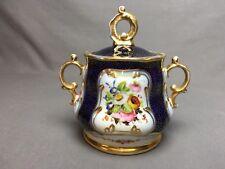 Antique (c.1850) Old Paris 3 Cup Sugar Bowl with Lid Floral Cobalt Blue Gold
