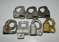 7 different Vintage Hex key Railroad Signal Locks Iron Brass & other