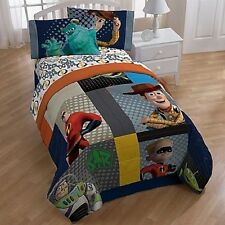 Disney Pixar Patchwork 4PC Reversible Twin Full Comforter/ Twin Sheet Bed Set