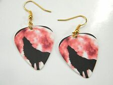 Wolf Earrings Gray Wolves Pick Howling At Red Moon 14Kt Gold Plated Wires New!