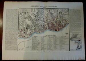 Lisbon Portugal 1832 Brugner huge scarce city plan wonderful detailed map