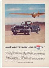 1958 CORVETTE ORIGINAL GM VETTE AD - WHAT'S AS EFFORTLESS - FREE SHIPPING