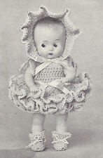 "Vintage Crochet PATTERN to make 8"" Doll Clothes Dress Bonnet Booties DoreenConni"