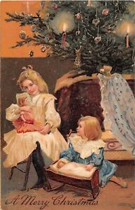 Decorated Tree by Pretty Little Girls Playing With Dolls-Old PFB Christmas PC