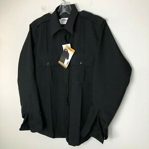 Elbeco Classic Womens TexTrop Long Sleeve Work Uniform Shirt Black New with Tags